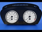 2004-2005 E60 BMW 5 Series 525i 530i 545i White Face Gauges