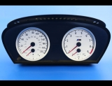 2006-2010 BMW 5 Series E60 M5 E63 M6 White Face Gauges