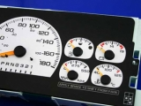 1997-1999 Chevrolet Tahoe 180 kmh METRIC White Face Gauges
